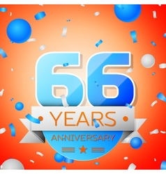 Sixty six years anniversary celebration on orange vector