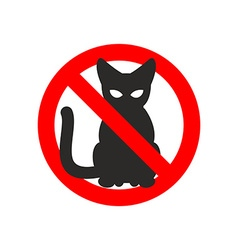 Stop cat sign No cats Ban pet Black cat silhouette vector image