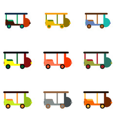 Stylish icon in flat style excursion car set vector