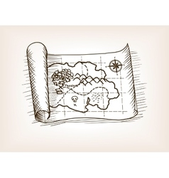Treasure map sketch style vector