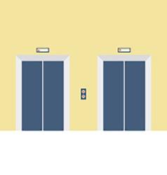 Two closed doors elevator vector