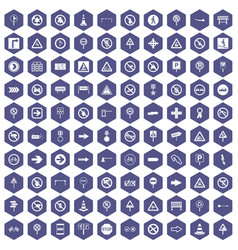 100 road signs icons hexagon purple vector