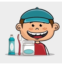 Smiling cartoon child with dental care implements vector