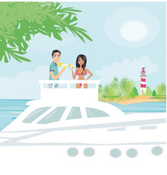 romantic date on the yacht vector image