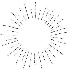 Image of linear hand drawing of rays of the sun in vector