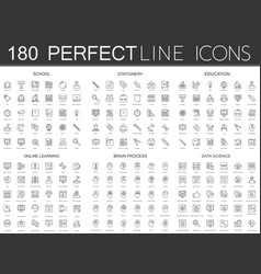 180 modern thin line icons set of school vector image vector image