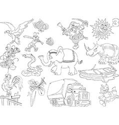 Set of cheerful cartoons vector image