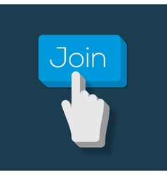 Join us button with hand shaped cursor vector