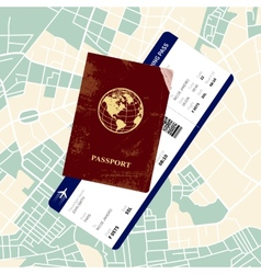 Passport with a boarding pass vector