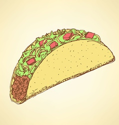 Sketch mexican taco in vintage style vector