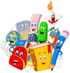 Collection stationery giving thumb up vector image
