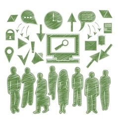 Set isolated icon people arrow gadgets vector