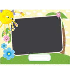 Baby summer frame with fun sun contains clipping m vector