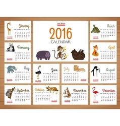 Desk calendar print template with zoo vector