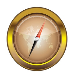 Gold retro compass vector