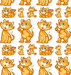 Seamless cute kitten in different posts vector