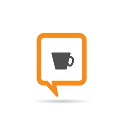 Square orange speech bubble with cup of coffee vector