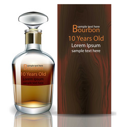 Bourbon bottle realistic product packaging vector