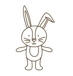 brown contour graphic of bunny vector image
