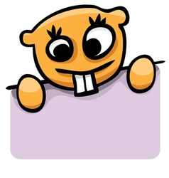 Cartoon gopher with a poster vector