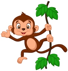 Cartoon monkey hanging in tree vector image vector image