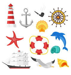 cartoon style set of sea objects vector image vector image