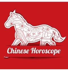 Chinese horoscope background with paper horse vector