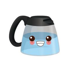 coffee maker cup kawaii cartoon vector image