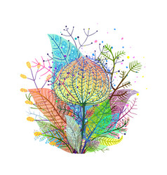 colorful leaves decoration transulent arrangement vector image vector image