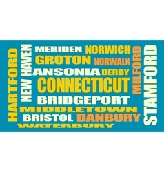 Connecticut state cities list vector