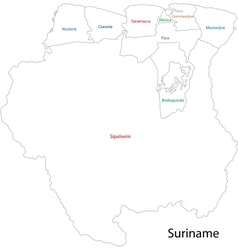 Contour suriname map vector