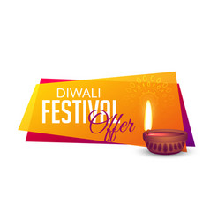 diwali festival offers voucher banner design vector image