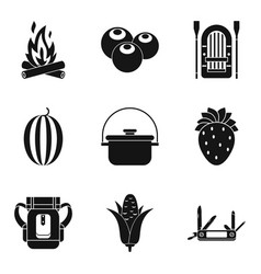 Field kitchen icons set simple style vector