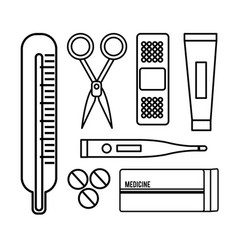 figure tethoscope with hospital tools icon vector image