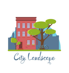 Flat city landscape building house red america vector