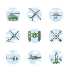 Flat color style military robots icons vector