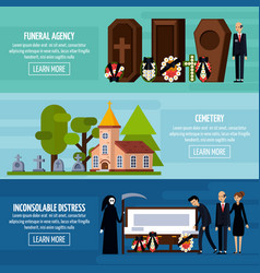 Funeral services flat banner set vector