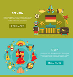 Germany spain banners set vector