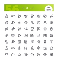 Golf line icons set vector