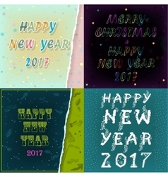 Greeting cards with texts Happy New Year 2017 vector image vector image