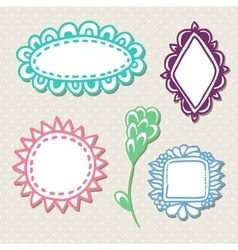 Hand drawn cute doodle frames set with vector image vector image