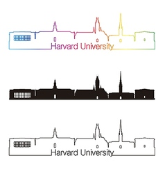 Harvard University skyline linear style with vector image vector image