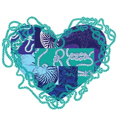 Heart with elements of marine life vector