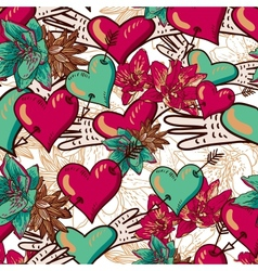 Hearts and Flowers Seamless Background vector image vector image