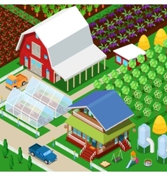 Isometric rural farm agricultural field vector