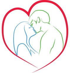 Kiss of man and woman vector image vector image