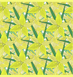 Lilies background modern seamless pattern with vector