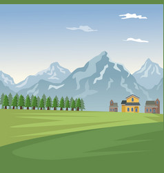 mountain landscape valley poster with forest and vector image vector image