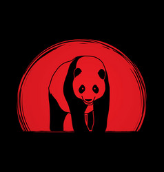 Panda standing cartoon logo vector