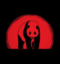 panda standing cartoon logo vector image vector image